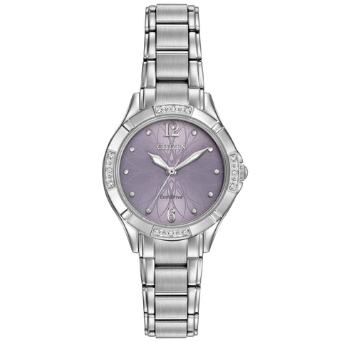 Citizen Eco-Drive Silvertone Watch Violet With Diamond Accents