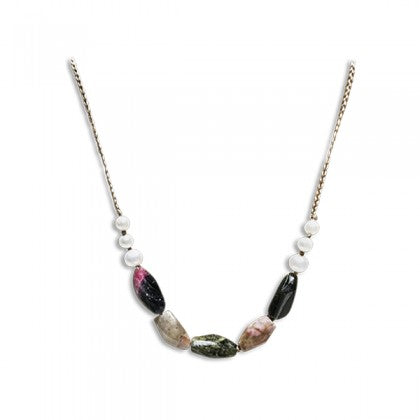 "Sharon Wei ""Alluring Path"" Tourmaline and Freshwater Pearl Necklace"