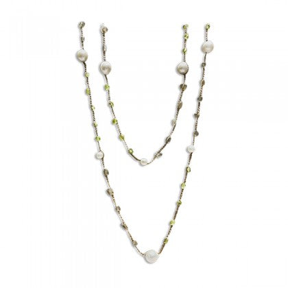 Sharon Wei 46 Inch Labradorite and Pearl Necklace