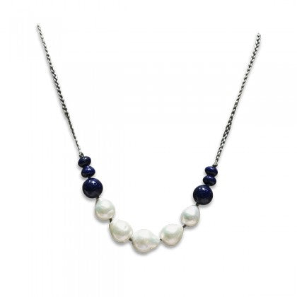 Sharon Wei Freshwater Pearl and Lapis Necklace