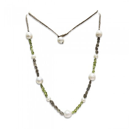 Sharon Wei Freshwater Pearl, Labradorite and Peridot Necklace