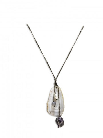 Freshwater Pearl, amethyst, labradorite and agate necklace