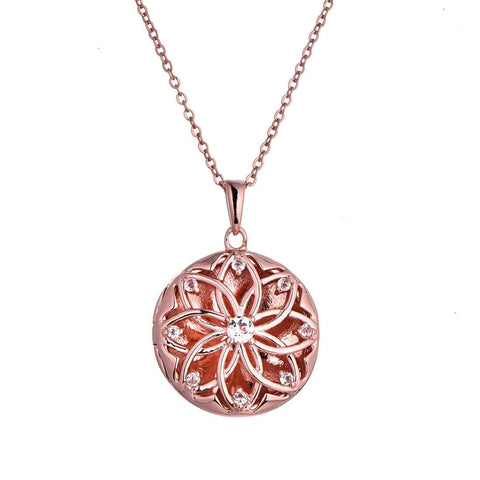 14K Rose Gold Plated Floral Locket With White Topaz Accents