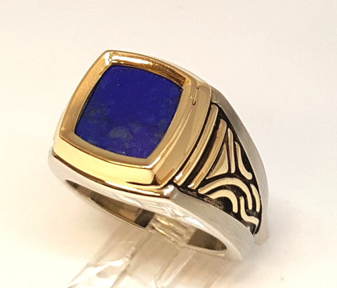 West & Co. Signature Series 14K Yellow and White Gold Lapis Gents Ring