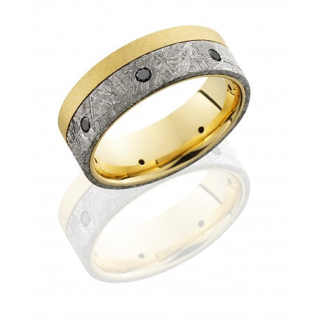 Lashbrook Men's 18K Yellow Gold Wedding Band with Meteorite Inlay and Black Diamonds