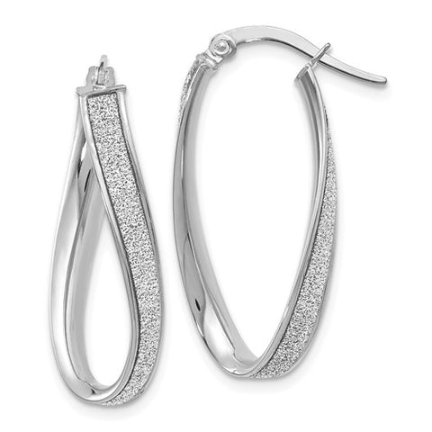 14K White Gold Polished Twisted Oval Hoop Earrings
