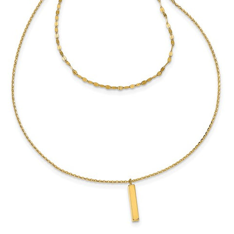14K Yellow Gold Double Layer Diamond Cut and High Polished Bar Necklace