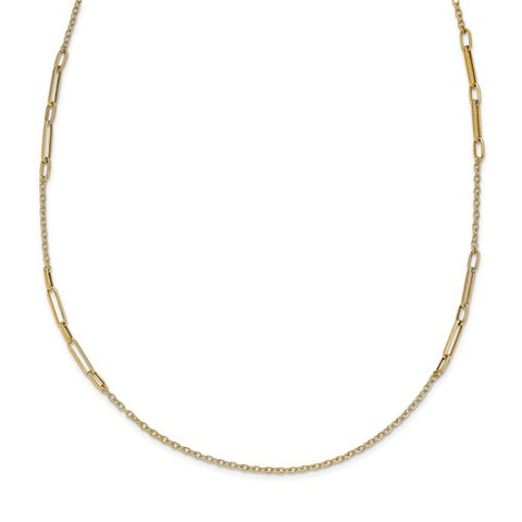 14K Yellow Gold Poliehed Textured Long Necklace