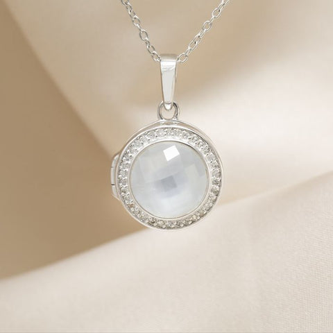 Mother of Pearl and Diamond Silver Locket Pendant