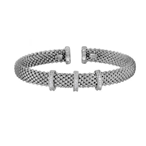 Sterling Silver Flexible Diamond Cuff Bracelet