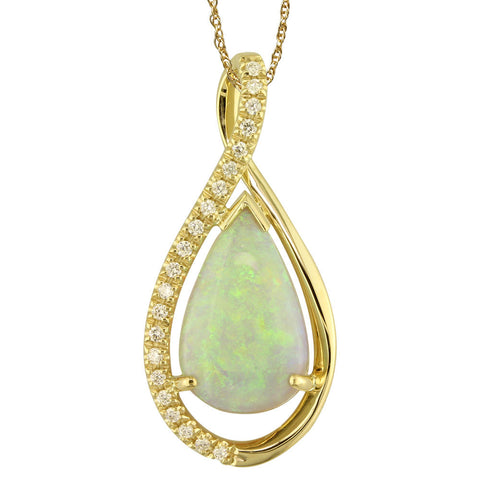 Australian Opal and Diamond Necklace in Yellow Gold