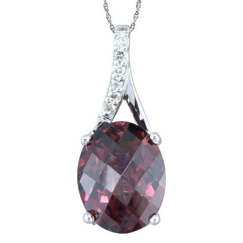 Rhodolite Garnet and Diamond Pendant in 14k White Gold