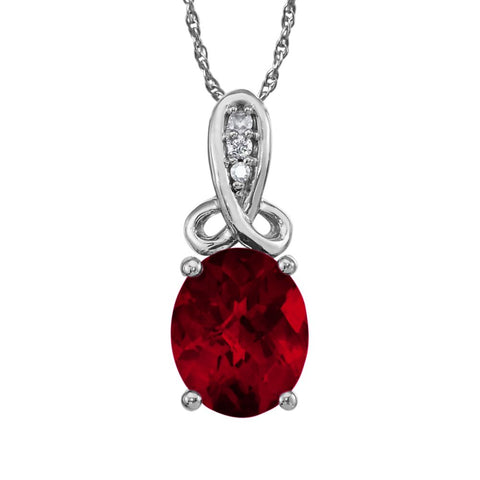 Garnet and Diamond Necklace in 14k white gold