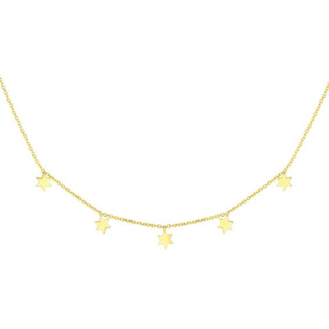 14K Yellow Gold Multi-Star Necklace
