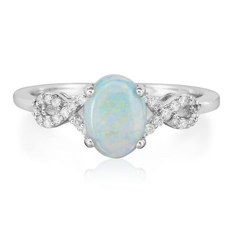 Australian Opal and Diamond Ring in 14K White Gold