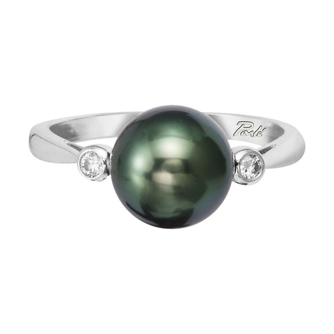 Tahitian Pearl and Diamond Ring White Gold