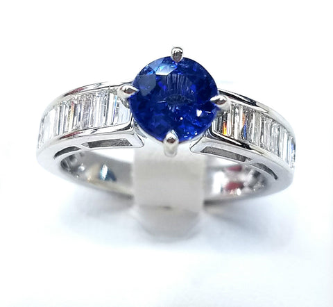 18K White Gold Cornflower Blue Sapphire and Baguette Diamond Ring | Alternative Engagement Ring