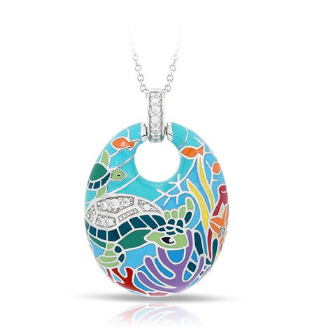 Belle E'toile Aqua Sea Turtle Pendant