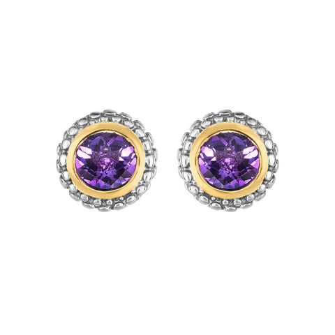 18K Yellow Gold and Sterling Silver Bezel Set Amethyst Earrings - February Birthstone