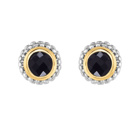 18K Yellow Gold and Sterling Silver Bezel Set Black Onyx Earrings