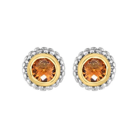 18K Yellow Gold and Sterling Silver Bezel Set Citrine Earrings November Birthstone