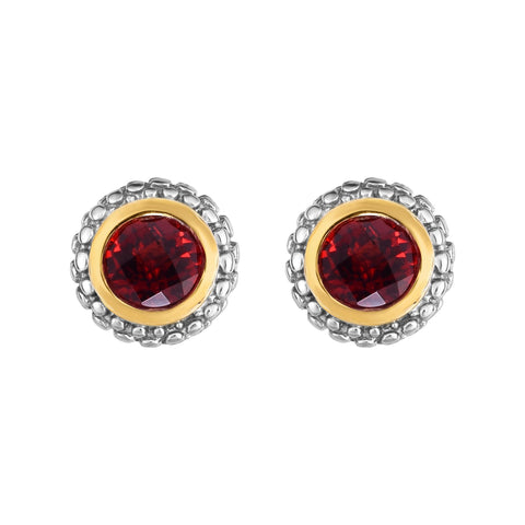 18K Yellow Gold and Sterling Silver Bezel Set Garnet Earrings January Birthstone