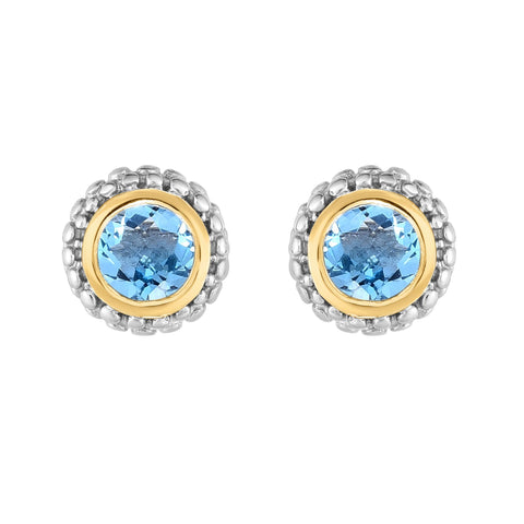 18K Yellow Gold and Sterling Silver Bezel Set Blue Topaz Earrings