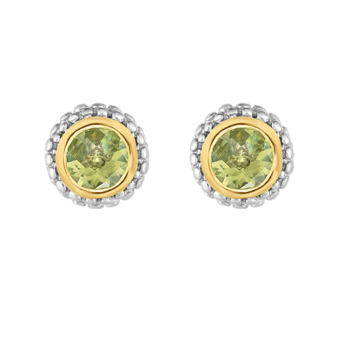 18K Yellow Gold and Sterling Silver Bezel Set Peridot Earrings August Birthstone