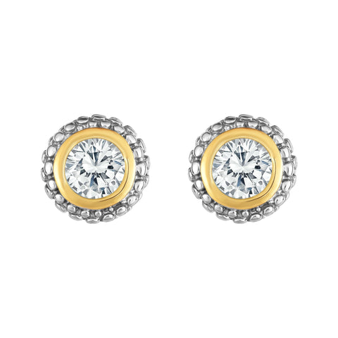 18K Yellow Gold and Sterling Silver .16ctw Diamond Earrings With Bezel Accent - April Birthstone