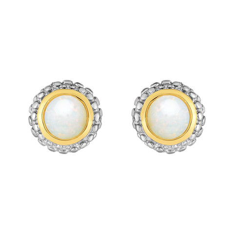 18K Yellow Gold and Sterling Silver Bezel Set Opal Earrings October Birthstone