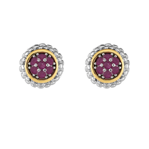18K Yellow Gold and Sterling Silver Burmese Ruby Earrings with Bezel Accent - July Birthstone