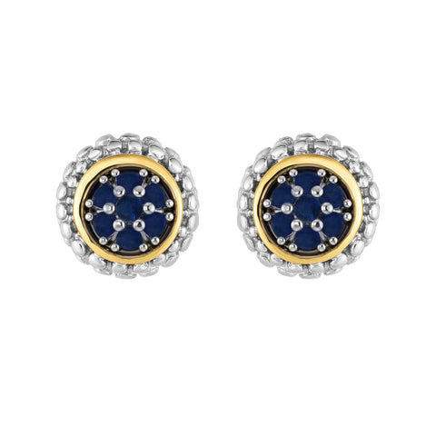 18K Yellow Gold and Sterling Silver Sapphire Earrings with Bezel Accents - September Birthstone