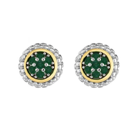 18K Yellow Gold and Sterling Silver Emerald Earrings With Bezel Accent May Birthstone