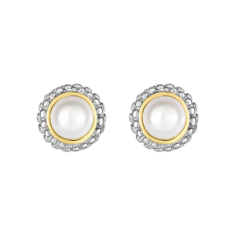 18K Yellow Gold and Sterling Silver Bezel Set Pearl Earrings June Birthstone