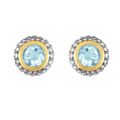 18K Yellow Gold and Sterling Silver Bezel Set Aquamarine Earrings - March Birthstone
