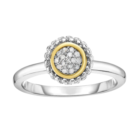 18K Yellow Gold and Sterling Silver Diamond Bezel Accent Ring April Birthstone
