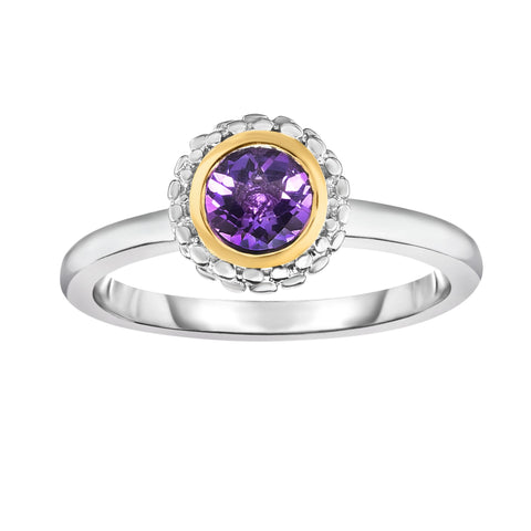 18K Yellow Gold and Sterling Silver Bezel Set Amethyst Ring February Birthstone