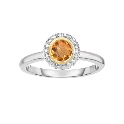 18K Yellow Gold and Sterling Silver Bezel Set Citrine Ring - November Birthstone