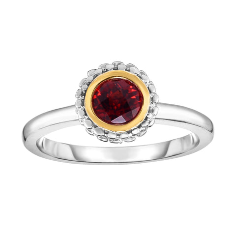 18K Yellow Gold and Sterling Silver Bezel Set Garnet Ring January Birthstone