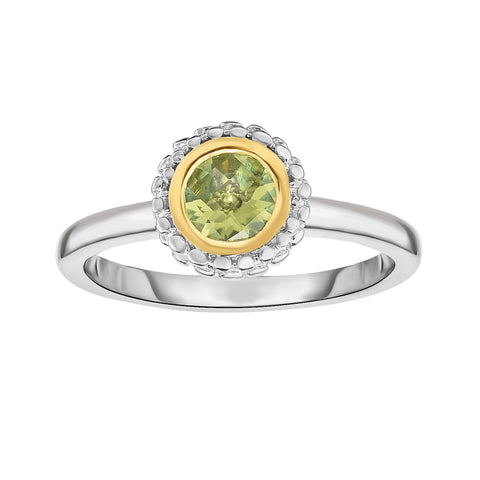 18K Yellow Gold and Sterling Silver Bezel Set Peridot Ring August birthstone