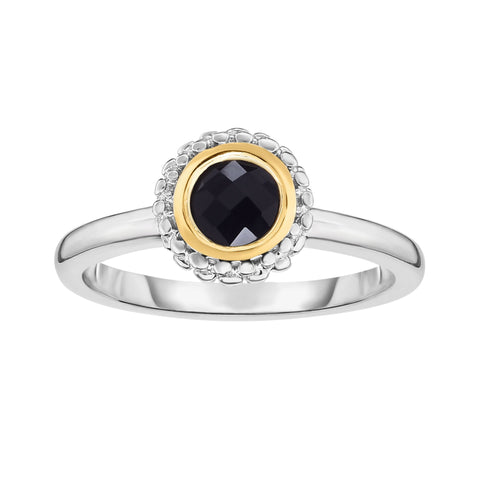 18K Yellow Gold and Sterling Silver Bezel Set Black Onyx Ring