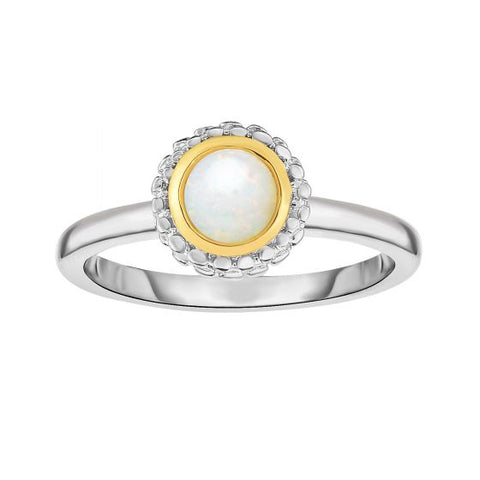 18K Yellow Gold and Sterling Silver Bezel Set Opal Ring October Birthstone