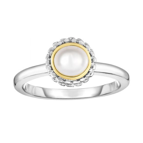 18K Yellow Gold and Sterling Silver Bezel Set 4.5-5mm Pearl Ring June Birthstone