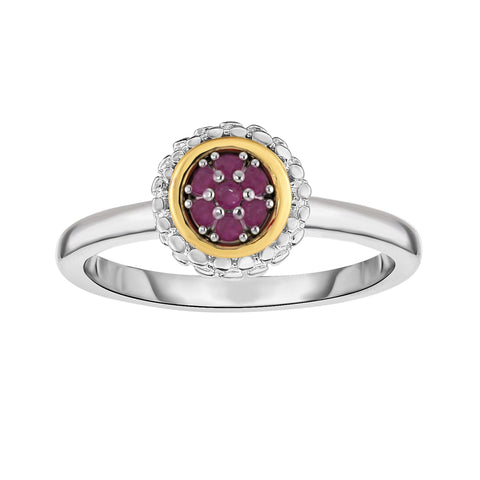 18K Yellow Gold and Sterling Silver Burmese Ruby Ring - July Birthstone
