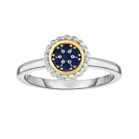 18K Yellow Gold and Sterling  Silver Sapphire Ring September Birthstone