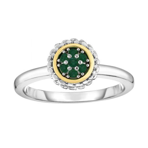 18K Yellow Gold and Sterling Silver Emerald Ring May Birthstone