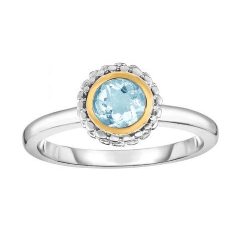 18K Yellow Gold and Sterling Silver Bezel Set Aquamarine Ring March Birthstone