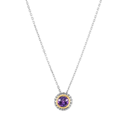 18K Yellow Gold and Sterling Silver Bezel Set Amethyst Slide Pendant February Birthstone