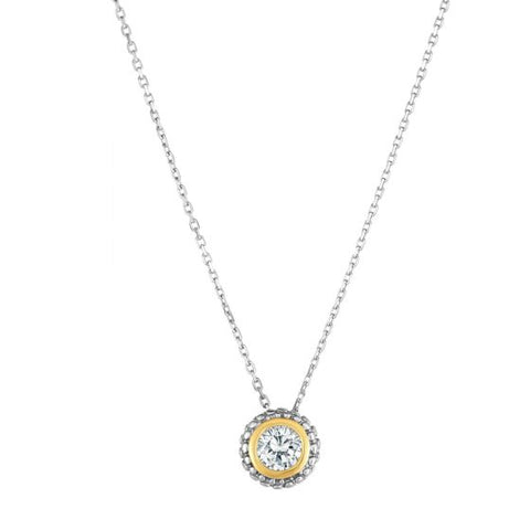 18K Yellow Gold and Sterling Silver Diamond Slide Pendant