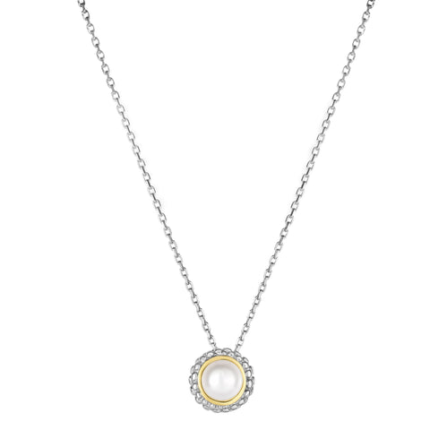 18K Yellow Gold and Sterling Silver Bezel Set Pearl Slide Pendant June Birthstone